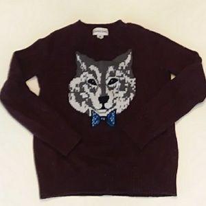 Lands End medium burgundy wolf sweater v-neck